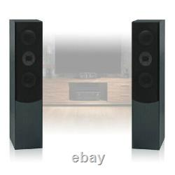 2x Skytronic Passive 3-Way Black HiFi Tower Column Floor Standing Speakers 350W