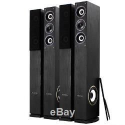 4x Fenton Home Hifi 6.5 3-Way Black Column Floor Standing Speakers 2000W