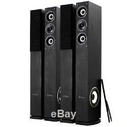4x Fenton Home Hifi 6.5 3-Way Column Floor Standing Speakers 2000W UK Stock
