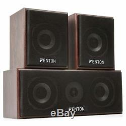 5.0 Surround Sound Speaker System Hi-Fi Home Theatre Floor Standing Wood Finish