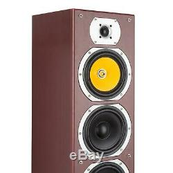Hi Fi Speakers Loud Audio System 440W Floor Stand 4 Way Subwoofer DJ Mahogany