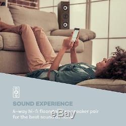 Hi Fi Speakers Loud DJ Party Pair 960W Floor standing 4-way Audio Wood Look