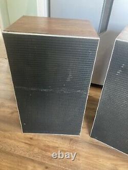 Huge Vintage 1970s Leak Teak 2060 Floor Standing Speakers Mid Century