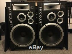 Jamo D 365, 3-way loud floorstanding speakers, 15 bass woofer, horn tweeter