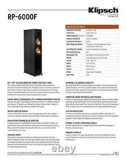 Klipsch RP-6000F Floor Standing Speakers B Stock Black (One Pair)