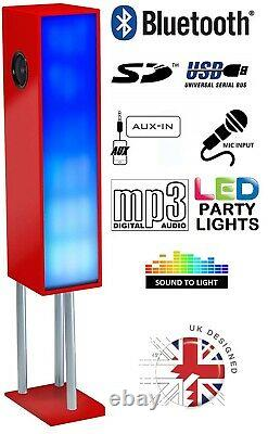 Large Bluetooth Megasound Tower Party Speaker with LED Lights Floor Standing