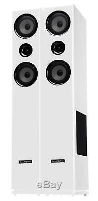 Pair HiFi Speakers Tower Floor Standing Home Cinema Stereo Bassreflex 300W White