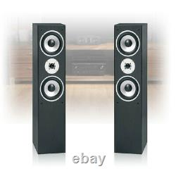 Pair Skytronic Black Floor Standing Tower Speakers 3-Way Home Cinema System 350W