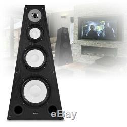 Pair of Pyramid Floor Standing Speaker 350W Black Hi Fi Home Cinema Surround
