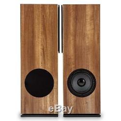 Speakers Floor Standing Hi-Fi Home Audio Passive Pair 140W RMS Tower Walnut 280W